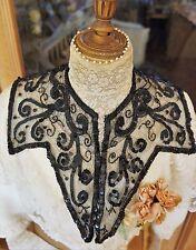 Col tulle noir brodé perle de jais sequins Art Nouveau 1900 Victorian collar