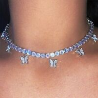 Fashion Butterfly Necklace Pendant Clavicle Choker Crystal Chain Women Jewelry