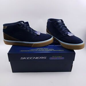 Skechers Mens Linmoore Navy High Top Sneakers Shoes 9.5 M Skate Shoes