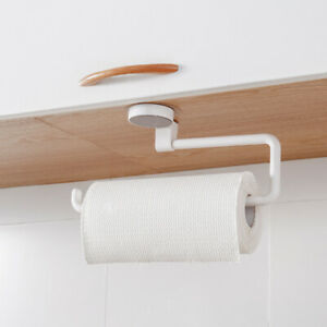 Punch Free Kitchen Paper Holder Suction Wall Bathroom Kitchen Hanging Wrap Towel