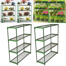 2x Garden Plant Greenhouse steel Storage Shelving frame Stand 4 tier Shelf Rack
