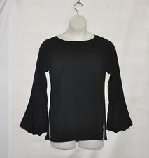 Linea by Louis Dell'Olio Pullover Blouse with Sleeve Detail Size S Black