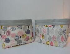 Fabric Baskets - 2 - Leaves and Blossom Trees Nursery Nappy Diaper Holders