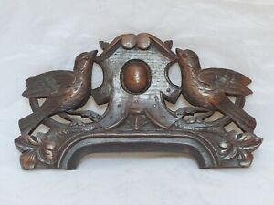 "Wedding Symbol Antique Hand Carved Pediment RARE 11x5"" Couple of Doves 19TH"