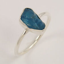 tiny ring neon apatite natural rough stone 925 sterling silver ring size US 6