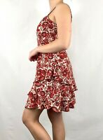 Jessica Simpson Red White Sundress Above Knee Spaghetti Strap Floral Paisley M