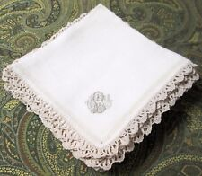 12 Antique Linen Napkins C L Y Monogram Crocheted Lace Quadruple Hemstitching