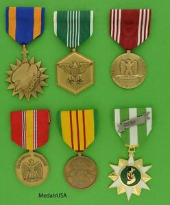 ARMY 6 VIETNAM MEDALS -Air, Commendation, Defense, Service, Campaign, Conduct T1
