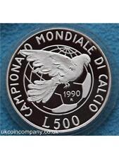 1990 Italy Campionati Mondiali Di Calcio Italia Silver Proof L500 Coins Box Cert