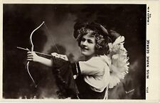 Miss Marie George stage star  with bow and arrow Archery photo postcard