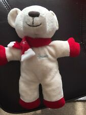 HARRODS BEIGE RED CHRISTMAS SNOWFLAKE SCARF TEDDY BEAR SOFT TOY RATTLE ours bar