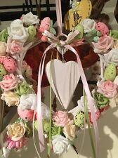 Easter Door Wreath Hanging Decoration Wicker Heart Speckled Eggs Flowers