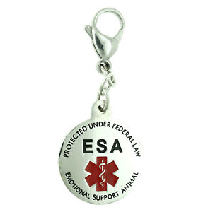 ESA Emotional Support Animal Stainless Steel Dog Cat Pet ID Tag