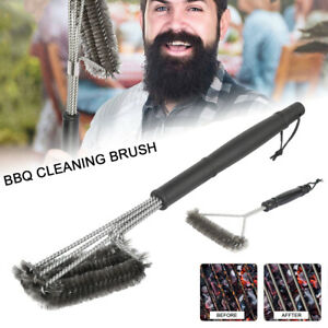 BBQ Grill Cleaning Brush triangle Stainless Steel Barbecue Bristles Cleaner