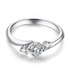 & 2.2mm Three-Stone Gemstone Ring Hot Sterling Silver Cubic Zirconia Round 4.5mm