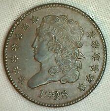 1828 Classic Head Copper Half Cent United States Type Coin Half Penny UNC