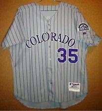 COLORADO ROCKIES JEREMY BURNITZ GAME WORN Gray Pinstripe #35 MLB ROAD JERSEY