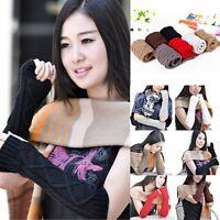 Women Girls Knit Crochet Fingerless Arm Hand Warmers Long Sleeve Elbow Gloves