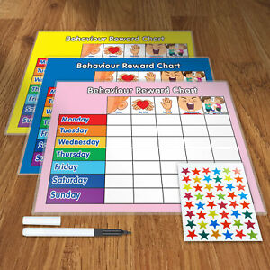 BEHAVIOUR REWARD CHART SET with FREE PEN AND STAR STICKERS A4