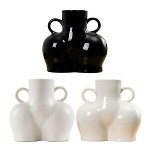 Human Body Shape Dry Flower Vase Pot Ceramics Desktop Sculpture Photo Props