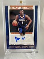 RARE🔥Zion Williamson Rookie  NBA Hoops Great Significance Autograph  SSP 19/20