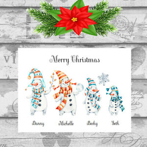 Personalised Christmas Cards x 10 Free Envelopes Family Friends 33