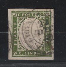 FRANCOBOLLI 1862 SARDEGNA 5 C. VERDE OLIVASTRO Z/2361