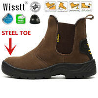 Mens Water Proof Dealer Chelsea Ankle Steel Toe Cap Safety Work Boots Shoes Size