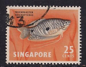 Singapore 1962 - 66 QE2 25ct Spotted Gorami  Fish used stamp SG 72. ( B591 )