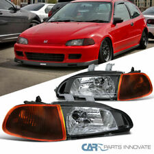 For 92-95 Honda Civic 2/3Dr Matte Black Headlights w/Dark Turn Signal Lamps Pair