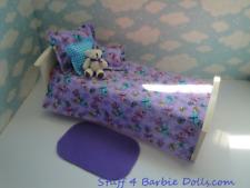 Barbie Doll Bedroom Furniture-2 in 1-Reversible 5 pc-Bedding Set- Blanket,Pillow