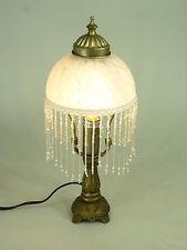 LED Tischleuchte Landhausstil Weide Gestell messing-antik Glasschirm E14-2Watt