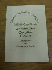 05/05/1996 Chelmsford Invitation League Division 2 Cup Final: Oddfellows v Selco