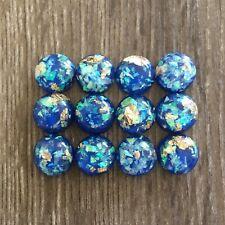 12x 12mm Blue Foil Glitter Circle Round Resin Cabochon Flatback Embellishments