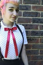 DARK RED BOW KAWAII JAPAN SCHOOL GIRL INDIE BAND GRUNGE COSPLAY PRE-TIED BOW TIE