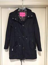 Betsey Johnson Solid Black Trench Raincoat Size XS EUC