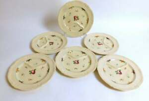 6 French Antique Asparagus and Artichoke Plates in Majolica