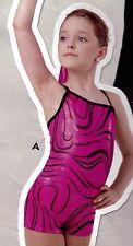 NWOT Pink Foil shorty unitard Small child Girls 4-6 One shoulder cami strap