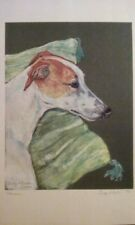 Print of pastel Whippet relaxing on pillow greyhound sighthound coursing raci 00004000 ng