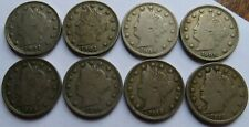 8 Liberty Nickels 1901/03/06/08/09/10/12 - F/VF 5C coins (102046P)