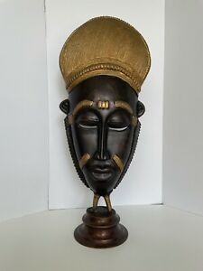 vintage brass or bronze w/gilt Baule Ivory Coast style African mask on stand EUC