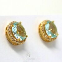 Large 1CT Oval Blue Aquamarine Stud Halo Earrings Jewelry 14K Yellow Gold Plated