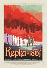 SPACE SCIENCE FUN TRAVEL KEPLER 186F RED GRASS FOREST POSTER PRINT LF1821
