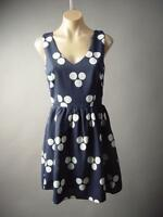 Navy Blue Polka Dot Fit and Flare Work 50s Swing 60s Mod Day 182 mv Dress S M L