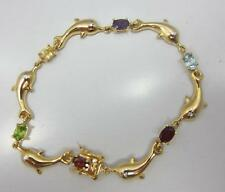 Sterling silver multi color gemstone fish TENNIS bracelet 925 yellow GOLD color
