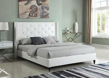 White Upholstered Faux Leather Tall Headboard Platform Bed With Slats, King