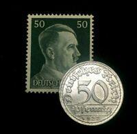 Rare Antique German 50 Pfenning 1920s Coin & Unused Stamp WW1 & 2 Artifacts