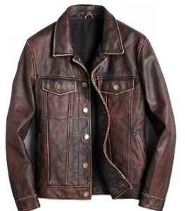 Mens Motorcycle Biker Vintage Cafe Racer Distressed Brown Real Leather Jacket