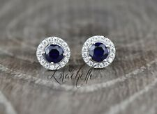 1.50ct Round Cut Blue Sapphire Halo Earring Studs 14K White Gold Screwbacks