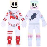 Marshmello DJ Mask Costume Kids Boys Marshmallow Halloween Party Jumpsuit 5-14Y